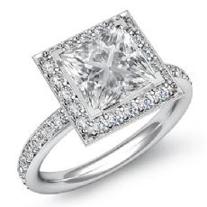 Halo Basket Sidestone Pave Princess diamond engagement Ring in 14k Gold White