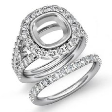1.70Ct Halo Diamond Engagement Ring Bridal Set 14K White Gold Cushion Semi Mount