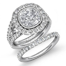 Bezel Pave Halo Bridal Set Cushion diamond engagement Ring in 14k Gold White