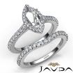 Diamond Marquise Cut Semi Mount Engagement Ring Bridal Set 14k White Gold 1Ct - javda.com