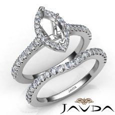 Diamond Marquise Cut Semi Mount Engagement Ring Bridal Set 14K White Gold 1.0Ct
