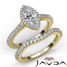 French U Pave Halo Bridal Set Marquise diamond  Ring in 14k Gold Yellow