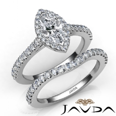 Shared Prong Halo Bridal Set Marquise diamond engagement Ring in 14k Gold White