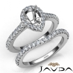 Diamond Pear Cut Semi Mount Engagement Ring Bridal Set 14k White Gold 1Ct - javda.com