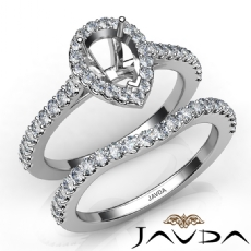 Diamond Pear Cut Semi Mount Engagement Ring Bridal Set 14K White Gold 1.0Ct.