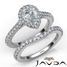 Halo Bridal Set U Pave Setting Pear diamond engagement Ring in 14k Gold White