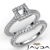 Diamond Princess Cut Semi Mount Engagement Ring Bridal Set 14k White Gold 1Ct - javda.com