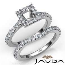 Diamond Princess Cut Semi Mount Engagement Ring Bridal Set 14K White Gold 1.0Ct