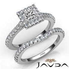 Halo U Prong Setting Bridal diamond Ring 14k Gold White