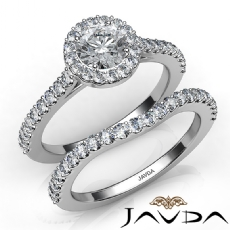 U Cut Prong Halo Bridal Set Round diamond engagement Ring in 14k Gold White