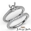 Asscher Cut Diamond Semi Mount Engagement Ring Bridal Set 14k White Gold 0.8Ct - javda.com