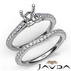 Asscher Cut Diamond Semi Mount Engagement Ring Bridal Set 14K White Gold 0.80Ct.