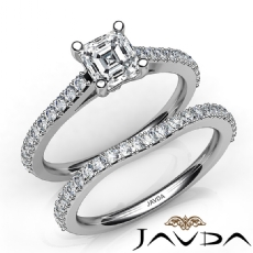 Double Prong Setting Bridal Asscher diamond engagement Ring in 14k Gold White