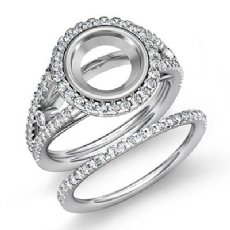 1.1Ct Round Halo Diamond Semi Mount Engagement Ring Bridal Set 14K White Gold