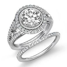 Bezel Prong Setting Bridal Round diamond engagement Ring in 14k Gold White