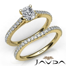 Double Prong Set Bridal Cushion diamond engagement Ring in 14k Gold Yellow