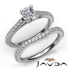 Double Prong Set Bridal Cushion diamond engagement Ring in 14k Gold White