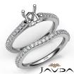 Diamond Cushion Cut Semi Mount Engagement Ring Bridal Set 14k White Gold 0.8Ct - javda.com