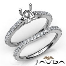 Diamond Cushion Cut Semi Mount Engagement Ring Bridal Set 14K White Gold 0.80Ct.