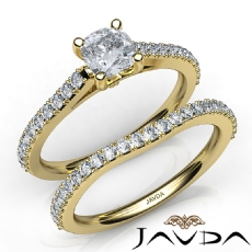 Double Prong Bridal Set Cushion diamond engagement Ring in 14k Gold Yellow