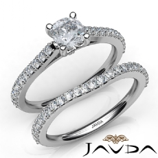 Double Prong Bridal Set Cushion diamond engagement Ring in 14k Gold White