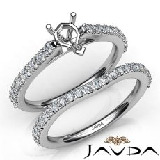 Heart Cut Diamond Semi Mount Engagement Ring Bridal Set 14K White Gold 0.80Ct.