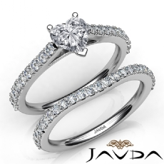 Sidestone Prong Bridal Set Heart diamond engagement Ring in 14k Gold White