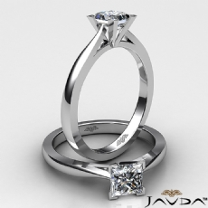 Tapered 4 Prong Solitaire Princess diamond  Ring in 14k Gold White