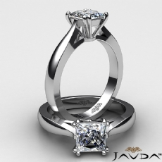 Domed Tapered Solitaire diamond Ring 14k Gold White