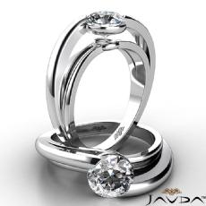 Bezel Set Solitaire diamond Ring 14k Gold White