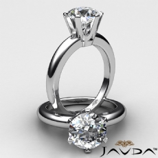 6 Prong Basket Solitaire diamond Ring 14k Gold White