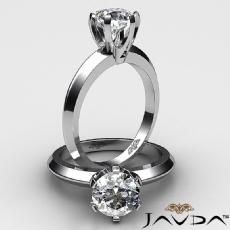 6 Prong Knife Edge Solitaire diamond Ring 14k Gold White