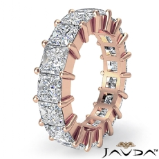 Princess Diamond Shared Prong Eternity Women's Band 14k Rose Gold Ring  (4.25Ct. tw.)