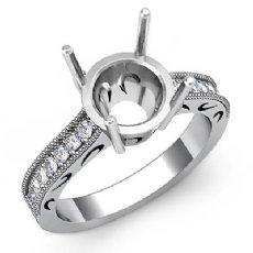 Round Diamond Vintage Style Engagement Setting Ring Platinum 950 Semi Mount (0.25Ct. tw.)
