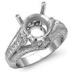 Round Diamond Engagement Milgrain Ring Setting 14k White Gold Semi Mount 0.8Ct - javda.com