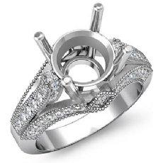 Round Diamond Engagement Milgrain Ring Setting Platinum 950 Semi Mount  (0.8Ct. tw.)