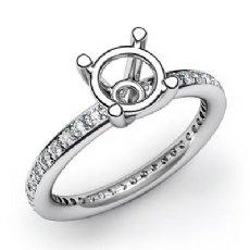 0.50Ct Pave Setting Diamond Engagement Ring Round Semi Mount 14K White Gold