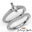 Marquise Diamond Semi Mount Engagement Ring Bridal Set 14k White Gold 0.8Ct - javda.com
