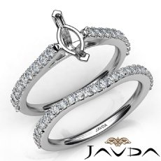 Marquise Diamond Semi Mount Engagement Ring Bridal Set 14K White Gold 0.80Ct.