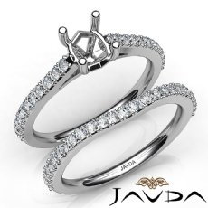 Oval Cut Diamond Semi Mount Engagement Ring Bridal Set 14K White Gold 0.80Ct.