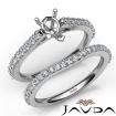 Pear Cut Diamond Semi Mount Engagement Ring Bridal Set 14k White Gold 0.8Ct - javda.com