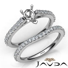 Pear Cut Diamond Semi Mount Engagement Ring Bridal Set 14K White Gold 0.80Ct.