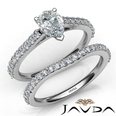 Split V Prong Bridal Set diamond Ring 14k Gold White