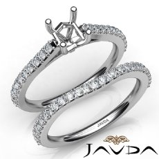 Princess Diamond Semi Mount Engagement Ring Bridal Set 14K White Gold 0.80Ct.