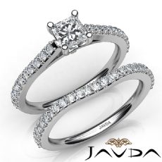 Matching Wedding Bridal Set Princess diamond engagement Ring in 14k Gold White