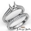 Asscher Pave Diamond Engagement Semi Mount Ring Bridal Sets 14k White Gold 1.25Ct - javda.com