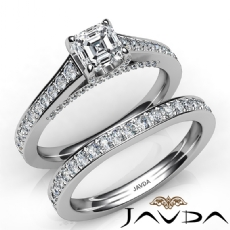 Accent Bridge Bridal Set Asscher diamond engagement Ring in 14k Gold White
