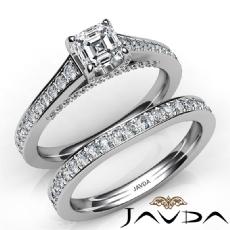 Accent Bridge Bridal Set diamond Ring 14k Gold White