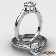 Basket Tapered Solitaire diamond Ring 14k Gold White