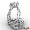 3 Stone Baguette Cushion Semi Mount Halo Diamond Engagement Ring 14k White Gold 1.1Ct - javda.com